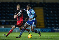 Aaron Pierre of Wycombe Wanderers under pressure from Andy Rose of Coventry City during the The Checkatrade Trophy Southern Group D match between Wycombe Wanderers and Coventry City at Adams Park, High Wycombe, England on 9 November 2016. Photo by Andy Rowland.