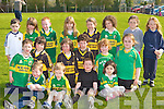 Budding Currow footballers waiting for Kerry footballer Seamus Scanlon to arrive with the Sam Maguire cup to Currow GAA club on Saturday morning front row l-r: Eamon O'Mahony, Ethan Whelan, Paddy Howard, Aoife Fleming. Middle row: Aidan McSweeney, Cathal Brosnan, Padraig Brosnan, John o'connor, Mary Lily Keane, Maggie O'callaghan. Back row: John David Carey, Fiona Brosnan, Freddie Galwey, Danielle Flynn, Hiliary O'Connor, Emma Mitchell-Buckley, Bronagh O'Neill and Alannah Butler