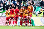 S&ouml;dert&auml;lje 2014-05-18 Fotboll Superettan Syrianska FC - Hammarby IF :  <br /> Syrianskas Charbel George har gjort 1-0 och jublar med lagkamrater framf&ouml;r Hammarby supportrar<br /> (Foto: Kenta J&ouml;nsson) Nyckelord:  Syrianska SFC S&ouml;dert&auml;lje Fotbollsarena Hammarby HIF Bajen jubel gl&auml;dje lycka glad happy supporter fans publik supporters