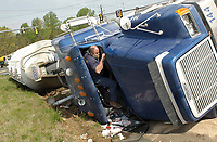 A tanker truck was traveling too fast for conditions and overturned while negotiating the corner by Sheetz at the intersection of Routes 29 and 17 Thursday morning April 22, 2004 near Bealeton, VA.  The driver, Norman Kauffman, was not injured and declined medical treatment.