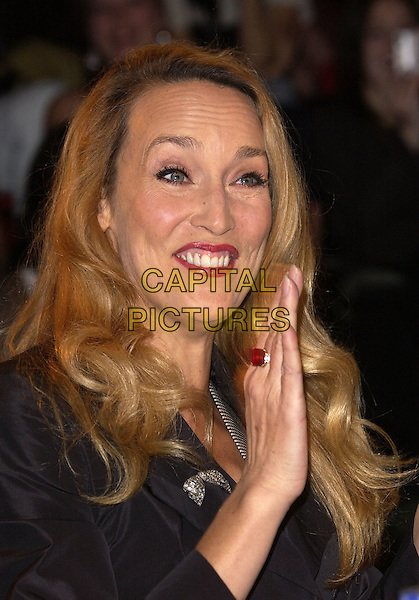 "JERRY HALL.Filming fashion show for ""Kept"", to be broadcast on VH1 in May. Jerry was asked to make-over Americans with Vivienne Westwood Clothes in order to anglisise them!  London College of Fashion, January 21st 2005..portrait headshot funny face wrinkles wrinkled forehead .Ref: DH.www.capitalpictures.com.sales@capitalpictures.com.©David Hitchens/Capital Pictures ."