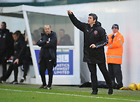 Fleetwood Town manager Joey Barton shouts instructions to his team from the dug-out<br /> <br /> Photographer Kevin Barnes/CameraSport<br /> <br /> The EFL Sky Bet League One - Plymouth Argyle v Fleetwood Town - Saturday 24th November 2018 - Home Park - Plymouth<br /> <br /> World Copyright © 2018 CameraSport. All rights reserved. 43 Linden Ave. Countesthorpe. Leicester. England. LE8 5PG - Tel: +44 (0) 116 277 4147 - admin@camerasport.com - www.camerasport.com