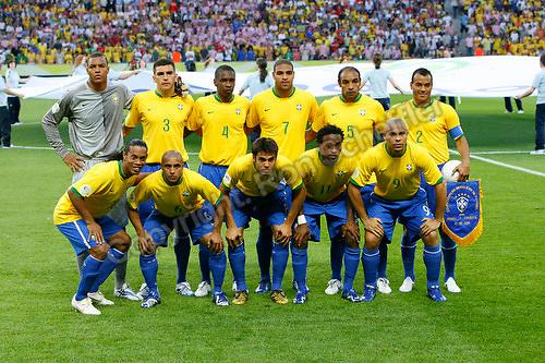 Jun 13, 2006; Berlin, GERMANY; The Brazil soccer team prior to the match against Croatia in 1st round group F action of the 2006 FIFA World Cup at FIFA World Cup Stadium Berlin.  Front row: Midfielder (10) Ronaldinho, defender (6) Roberto Carlos, midfielder (8) Kaka, midfielder (11) Ze Roberto and forward (9) Ronaldo. Back row: Goalkeeper (1) Dida, defender (3) Lucio, defender (4) Juan, forward (7) Adriano, midfielder (5) Emerson and defender (2) Cafu. Brazil defeated Croatia 1-0. Mandatory Credit: Ron Scheffler-US PRESSWIRE Copyright © Ron Scheffler