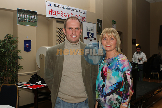 Richard Fahey from the FAI with PRO Sharon Tolan at the Fundraiser for East Meath United..(Photo credit should read Jenny Matthews/NEWSFILE)...