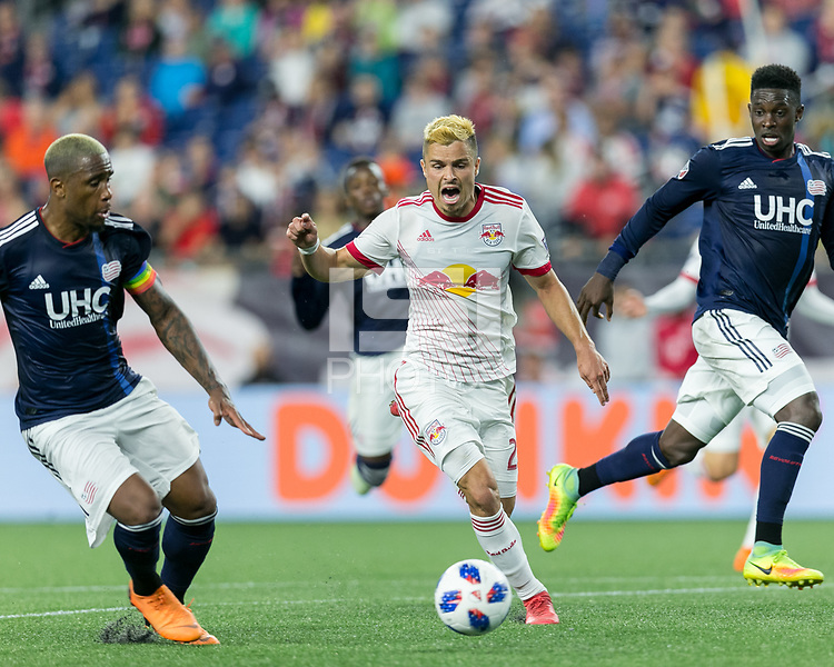 Foxborough, Massachusetts - June 2, 2018: In a Major League Soccer (MLS) match, New England Revolution (blue/white) defeated New York Red Bulls (white), 2-1, at Gillette Stadium.