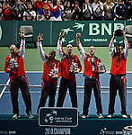 Serbian Davis Cup team during closing ceremony of Davis Cup finals, Serbia vs France in Belgrade Arena in Belgrade, Serbia, Sunday, 5. December 2010. Serbia has won 3:2 their first Davis Cup title.(credit & photo: Pedja Milosavljevic/SIPA PRESS)