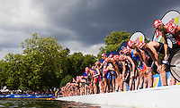 25 JUL 2010 - LONDON, GBR - Competitors wait for the start of the elite mens race at the London round of the ITU World Championship Series triathlon (PHOTO (C) NIGEL FARROW)