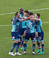 Scott Kashket (3rd left) of Wycombe Wanderers celebrates scoring his first goal during the Sky Bet League 2 match between Wycombe Wanderers and Hartlepool United at Adams Park, High Wycombe, England on 26 November 2016. Photo by Kevin Prescod / PRiME Media Images.