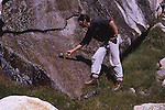 Robert Jacobi with sierra cup getting water in the Trinity Alps