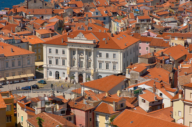 Tartini Square and Town Hall with roof tops of Piran , Slovenia