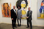 SANTA MONICA - JUN 25: Trevor Victor Harvey, Milan Dixon, Andrew Weiss at the David Bromley LA Women Art Exhibition opening reception at the Andrew Weiss Gallery on June 25, 2016 in Santa Monica, California