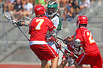 San Diego, CA 05/21/11 - Sam Simmons (Cathedral Catholic #7), Kyle Runyon (Coronado #7) and Dominic Thomas (Cathedral Catholic #23) in action during the 2011 CIF San Diego Section Division 2 Varsity Lacrosse Championship between Cathedral Catholic and Coronado.