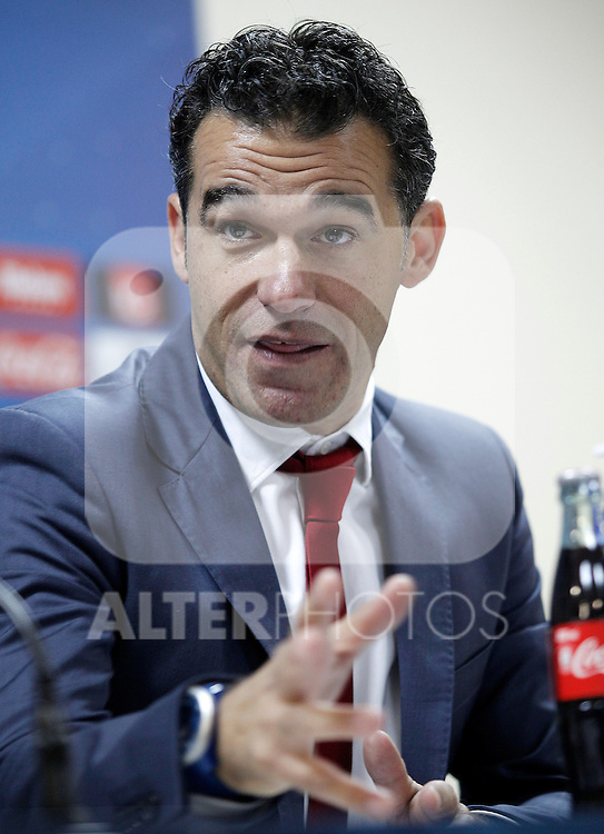 Getafe's coach Luis Garcia in press cenference after La Liga match.November 18,2012. (ALTERPHOTOS/Acero)