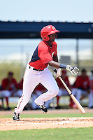 GCL Nationals shortstop Edwin Lora (6) at bat during a game against the GCL Marlins on June 28, 2014 at the Carl Barger Training Complex in Viera, Florida.  GCL Nationals defeated the GCL Marlins 5-0.  (Mike Janes/Four Seam Images)