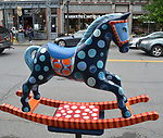 "A view of, ""Bubbles"" by artist, P.A. Morrow, one of the 35 Artist painted Rocking Horses on display around Saugerties, NY as part of the Chamber of Commerce sponsored Art in the Village Project titled ""Rockin' Around Saugerties."" This photo taken on Friday, May 26, 2017. Photo by Jim Peppler. Copyright/Jim Peppler-2017."