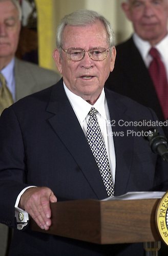 Former United States Senator Howard Baker (Republican of Tennessee) makes remarks after he was sworn-in as U.S. Ambassador to Japan during a ceremony in the East Room at the White House in Washington, D.C. on June 26, 2001..Credit: Ron Sachs / CNP
