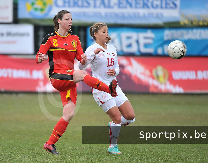Belgium U19 - Switzerland U19 : Nicky Van den Abbeele (links) en Anja Thurig (16).foto DAVID CATRY / Nikonpro.be