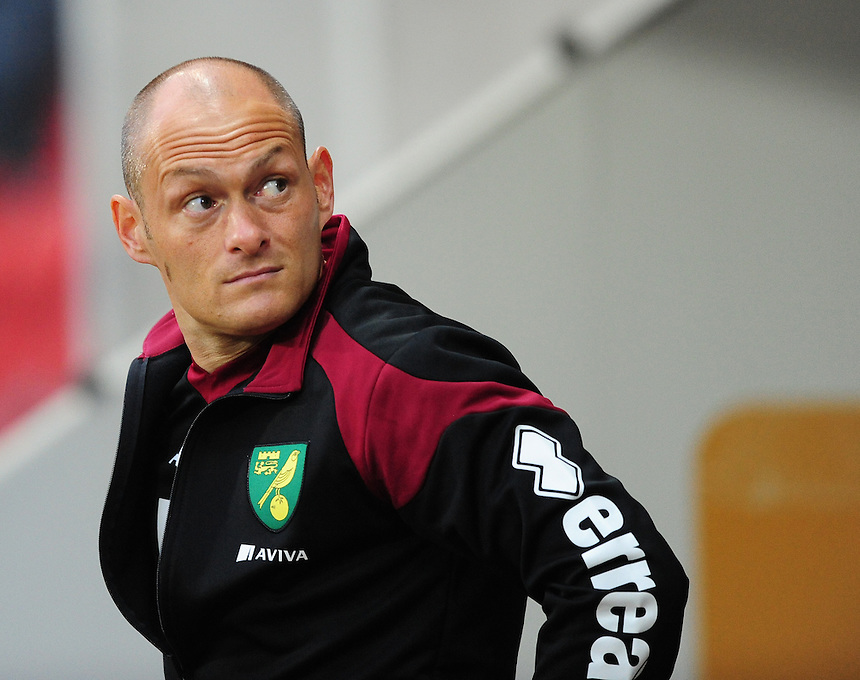 Norwich City manager Alex Neil  during the pre-match warm-up <br /> <br /> Photographer Chris Vaughan/CameraSport<br /> <br /> Football - Capital One Cup Second Round - Rotherham United v Norwich - Tuesday 25th August 2015 - New York Stadium - Rotherham<br />  <br /> &copy; CameraSport - 43 Linden Ave. Countesthorpe. Leicester. England. LE8 5PG - Tel: +44 (0) 116 277 4147 - admin@camerasport.com - www.camerasport.com