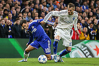 Eden Hazard of Chelsea and Andriy Yarmolenko of Dynamo Kyiv during the UEFA Champions League Group match between Chelsea and Dynamo Kyiv at Stamford Bridge, London, England on 4 November 2015. Photo by David Horn.