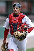 Catcher Mike McKenry #5 of the Pawtucket Red Sox prior to a game versus the Buffalo Bisons on 4-17-11 at McCoy Stadium in Pawtucket, Rhode Island. Photo by Ken Babbitt /Four Seam Images