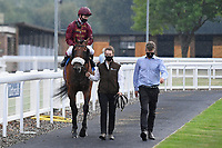Winner of The Kevin Hall & Pat Boakes Memorial Handicap   Iron Heart ridden by Oisin Murphy and trained by Andrew Balding is led into the Winners enclosure during Horse Racing at Salisbury Racecourse on 13th August 2020
