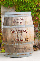 Chateau de Lascaux, Vacquieres village. Pic St Loup. Languedoc. France. Europe. The name of the chateau on a barrel.