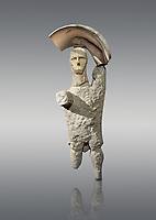 9th century BC Giants of Mont'e Prama  Nuragic stone statue of a boxer, Mont'e Prama archaeological site, Cabras. 2014 excavation. Civico Museo Archeologico Giovanni Marongiu - Cabras, Sardinia. Grey background