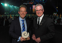 New Thinking Award winner John-Daniel Trask with Massey University vice-chancellor Steve Maharey. Wellington Gold Awards at TSB Bank Arena, Wellington, New Zealand on Thursday, 9 July 2015. Photo: Dave Lintott / lintottphoto.co.nz