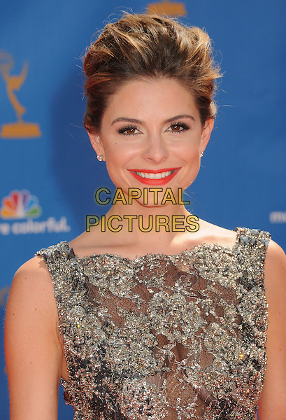 MARIA MENOUNOS.62nd Annual Primetime Emmy Awards held at NOKIA Theatre Los Angeles, California, USA. .29th August 2010.headshot portrait lace sleeveless hair up smiling lipstick grey gray silver  gold red embellished jewel encrusted  .CAP/ADM/BP.©Byron Purvis/AdMedia/Capital Pictures.
