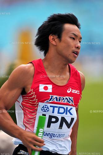 Yusuke Ishitsuka (JPN),SEPTEMBER 1, 2011 - Athletics :The 13th IAAF World Championships in Athletics - Daegu 2011, Men's 4x400m Relay Round 1 at the Daegu Stadium, Daegu, South Korea. (Photo by Jun Tsukida/AFLO SPORT) [0003]