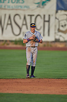 Christian Koss (36) second baseman of the Grand Junction Rockies on defense against the Ogden Raptors at Lindquist Field on August 28, 2019 in Ogden, Utah. The Rockies defeated the Raptors 8-5. (Stephen Smith/Four Seam Images)