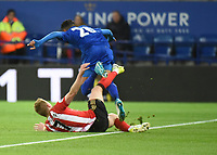 Sebastian Larsson of Sunderland Shinji Okazaki of Leicester City during the Premier League match between Leicester City v Sunderland played at King Power Stadium, Leicester on 4th April 2017.<br /> <br /> <br /> available via IPS Photo Agency only