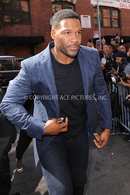 WWW.ACEPIXS.COM<br /> September 16, 2015 New York City<br />  <br /> Michael Strahan arriving to attend Kanye West Fashion Show on September 16, 2015 in New York City.<br /> <br /> <br /> <br /> Credit: Kristin Callahan/ACE<br />  <br /> Tel: 646 769 0430<br /> Email: info@acepixs.com<br /> www.acepixs.com