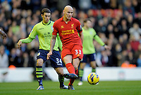 15.12.2012. Liverpool, England. Jonjo Shelvey  of Liverpool   in action during the Premier League game between Liverpool and Aston Villa from Anfield,Liverpool
