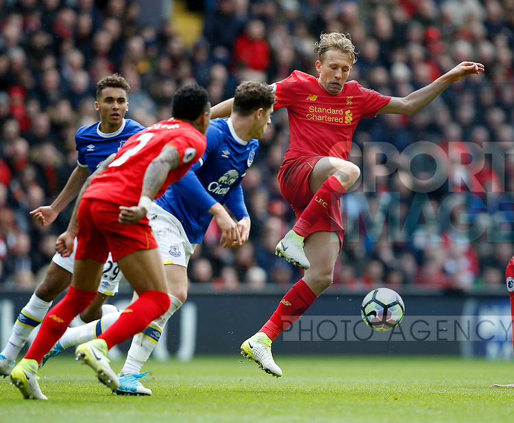 Lucas Leiva of Liverpool wins the ball during the English Premier League match at Anfield Stadium, Liverpool. Picture date: April 1st 2017. Pic credit should read: Simon Bellis/Sportimage