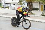 Belgian National Champion Yves Lampaert (BEL) Deceuninck-Quick Step recons the course before the start of Stage 7 of the Race of the Two Seas, the 54th Tirreno-Adriatico 2019, an individual time trial running 10.1km around San Benedetto del Tronto, Italy. 19th March 2019.<br /> Picture: LaPresse/Fabio Ferrari | Cyclefile<br /> <br /> <br /> All photos usage must carry mandatory copyright credit (&copy; Cyclefile | LaPresse/Fabio Ferrari)