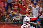 7 October 2017: Washington Nationals shortstop Trea Turner in action during the second NLDS game against the Chicago Cubs at Nationals Park in Washington, DC. The Nationals defeated the Cubs 6-3 and even their best of five Postseason series at one game apiece. Mandatory Credit: Ed Wolfstein Photo *** RAW (NEF) Image File Available ***