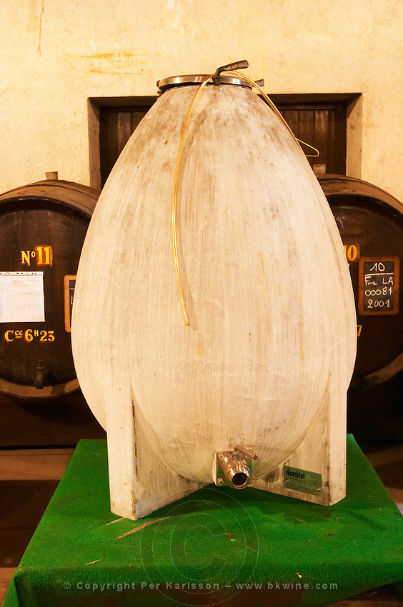 In the Chapoutier winery. A prototype for a specially designed concrete fermentation vat. Egg shaped. The design is supposed to be better in accordance with the principles of bio-dynamism.   Domaine M Chapoutier, Tain l'Hermitage, Drome Drôme, France Europe