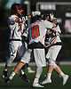 Scott Sasso #7 of Babylon, left, and teammates celebrate after a goal in the NYSPHSAA varsity boys lacrosse Class D state semifinals against Westlake at Adelphi University in Garden City, NY on Wednesday, June 7, 2017. Babylon fell to Westlake 11-10 in overtime.