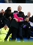 Duncan Ferguson stand in manager of Everton celebrates the second Everton goal with a ballboy during the Premier League match at Goodison Park, Liverpool. Picture date: 7th December 2019. Picture credit should read: Simon Bellis/Sportimage