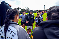St Mary's coach Tuga Mativa talks to his team during the 2017 1st XV rugby Top Four girls' final between St Mary's College and Hamilton Girls' High School at Sport and Rugby Institute in Palmerston North, New Zealand on Sunday, 10 September 2017. Photo: Dave Lintott / lintottphoto.co.nz