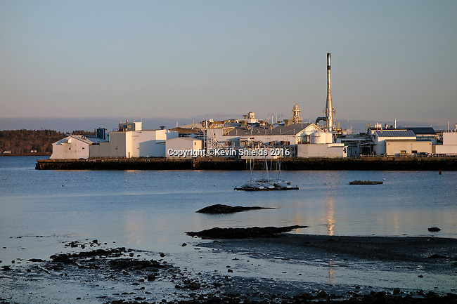 View of FMC's Marine Colloids plant on Crocketts Point in Rockland Harbor,  Rockland, Knox County, Maine, USA.