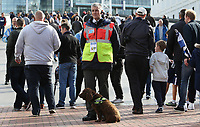 A handler and Explosive Search Dog on Wembley Way prior to kick off of the Premier League match between Tottenham Hotspur and Swansea City at Wembley Stadium, London, England, UK. Saturday 16 September 2017