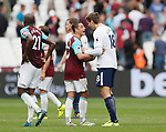 West Ham's Javier Hernandez argues with Tottenham's Fernando Llorente during the premier league match at the London Stadium, London. Picture date 23rd September 2017. Picture credit should read: David Klein/Sportimage