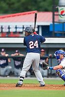 Brian Navarreto (24) of the Elizabethton Twins at bat against the Burlington Royals at Burlington Athletic Park on June 25, 2014 in Burlington, North Carolina.  The Twins defeated the Royals 8-0. (Brian Westerholt/Four Seam Images)