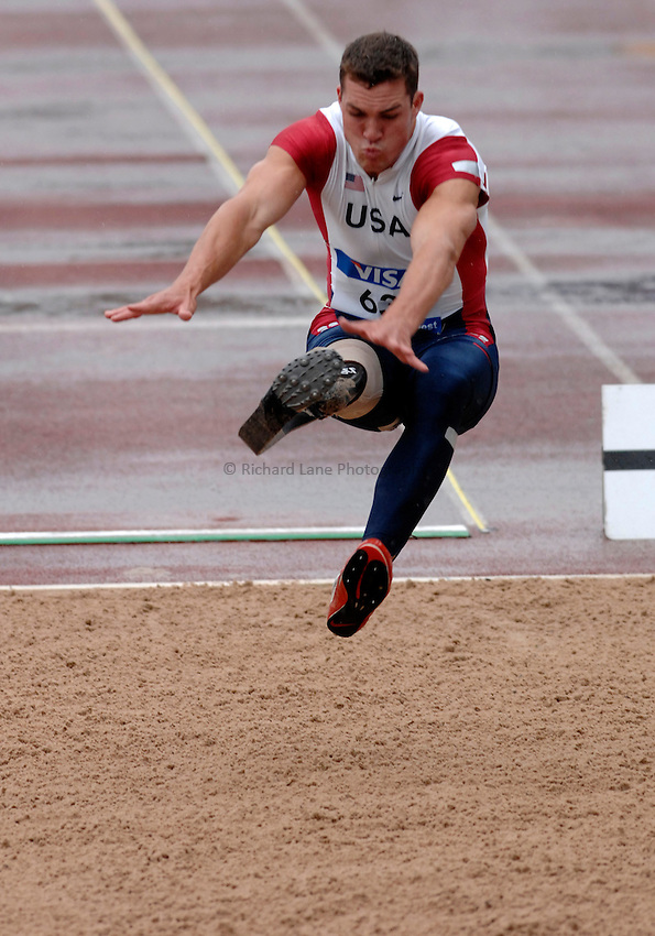 Photo: Richard Lane..VISA Paralympic World Cup 2007. Athletics. 13/05/2007. .Jeremy Campbell of USA in the men's F44 long jump.