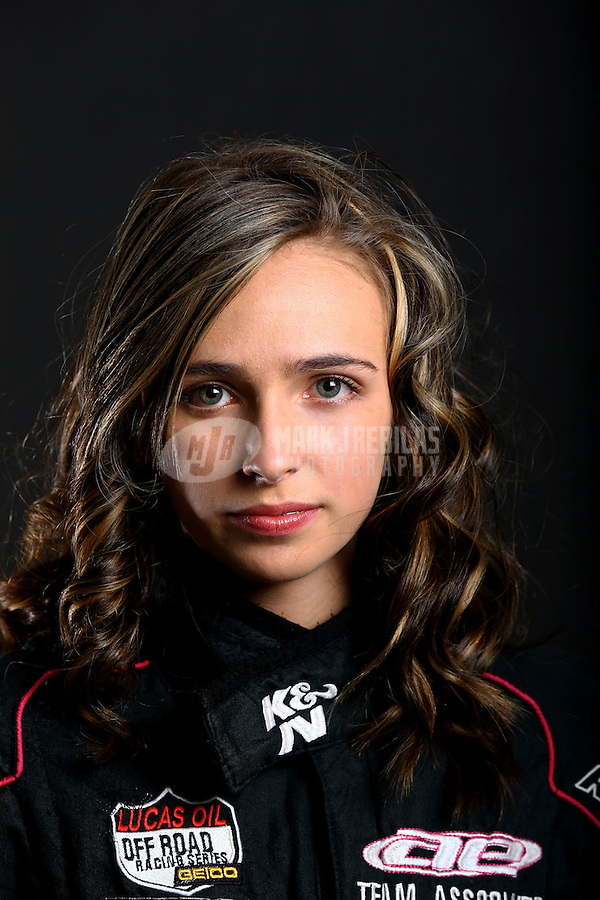 Mar. 21, 2014; Chandler, AZ, USA; LOORRS modified kart driver Brooke Kawell poses for a portrait prior to round one at Wild Horse Motorsports Park. Mandatory Credit: Mark J. Rebilas-USA TODAY Sports
