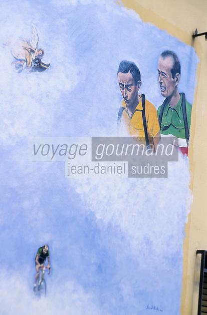 Europe/Italie/Emilie-Romagne/Dozza Imolese : Mur peint en mémoire de Coppi