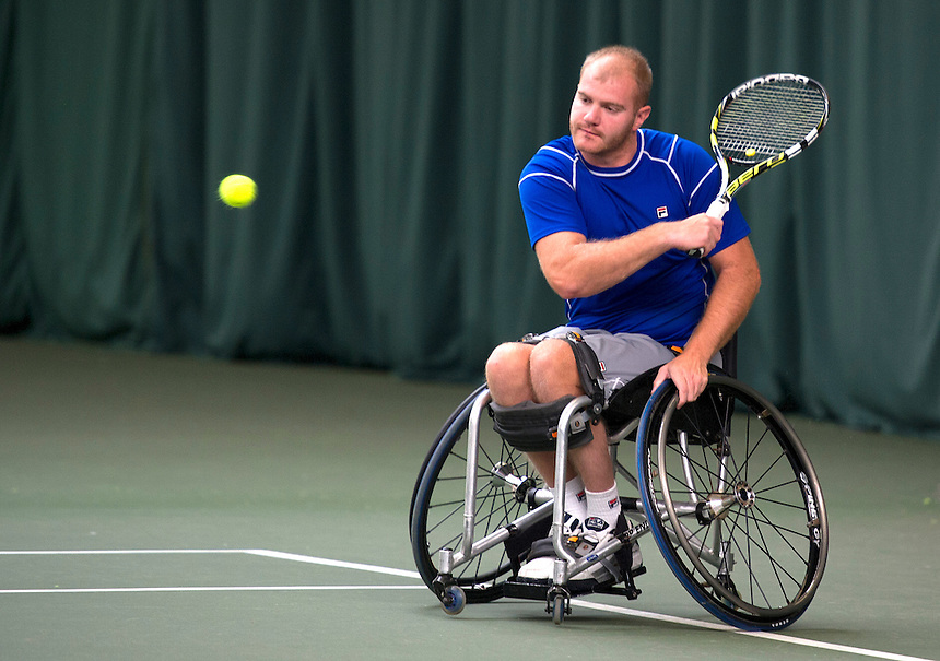 Marc McCarroll (GBR) in action today during his victory over Scott smith (GBR) in their Men's Singles Quarterfinal match - Marc McCarroll (GBR) [7] def Scott smith (GBR) 6-0 6-0<br /> <br /> Photo by Stephen White/Tennis Foundation<br /> <br /> Tennis - Nottingham Indoor Wheelchair Tennis Tournament 2013 - Day 2 - Thursday 24th October 2013 - Nottingham Tennis Centre - Nottingham<br /> <br /> &copy; Tennis Foundation/James Jordan - The National Tennis Centre - 100 Priory Lane - Roehampton - London - SW15 5JQ - Tel 020 8487 7304 - info@tennisfoundation.org.uk