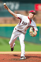 Starting pitcher Ryne Stanek #55 of the Arkansas Razorbacks in action against the Texas Tech Red Raiders at Minute Maid Park on March 2, 2012 in Houston, Texas.  The Razorbacks defeated the Red Raiders 3-1.  Brian Westerholt / Four Seam Images